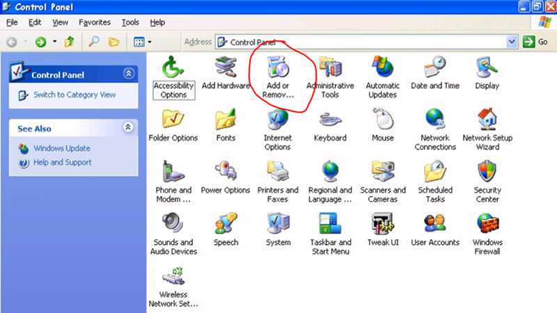 Uninstall Intel PROSet/Wireless Software in Windows XP